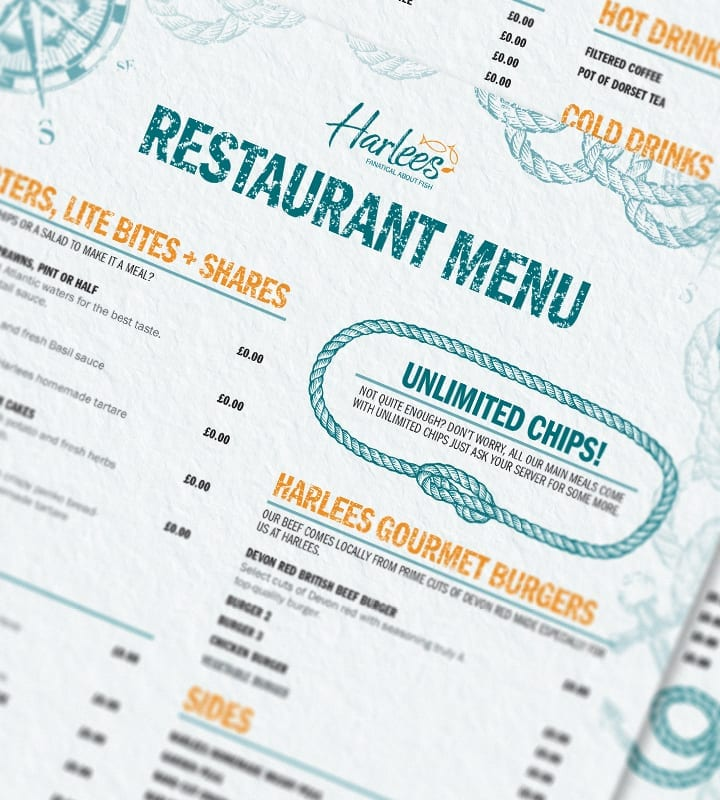 Harlees Menu - DSM Design Ltd